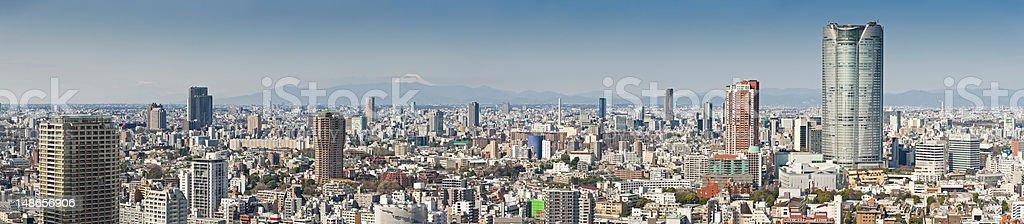 Tokyo Mt Fuji overlooking skyscrapers crowded cityscape panorama Roppongi Japan stock photo