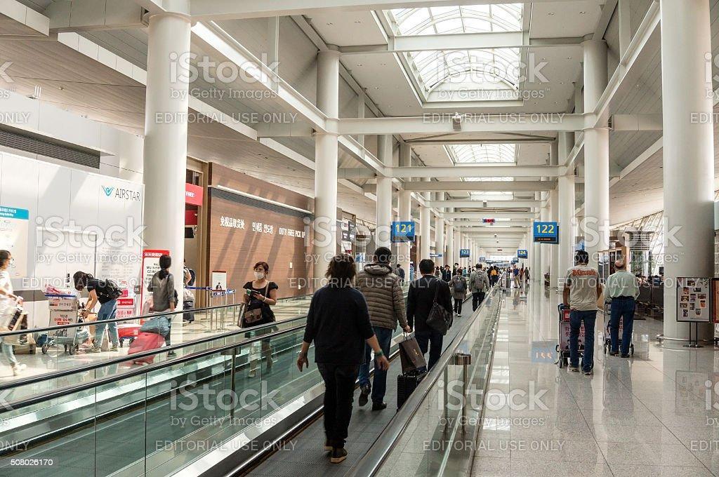 Tokyo Narita Airport Travelator stock photo