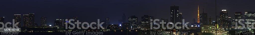 Tokyo neon city illuminated panorama skyscrapers landmarks night lights Japan royalty-free stock photo