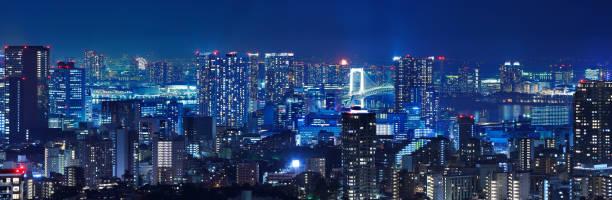Tokyo night scene full of light stock photo