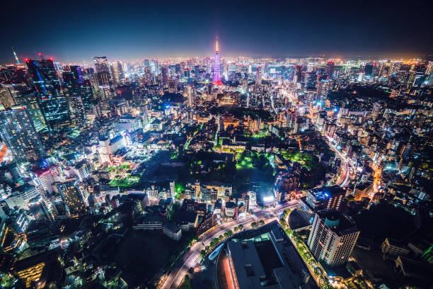 Tokyo Night Skyline stock photo