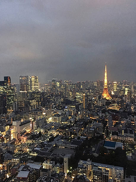 Tokyo night time city scape with Tokyo Tower ストックフォト