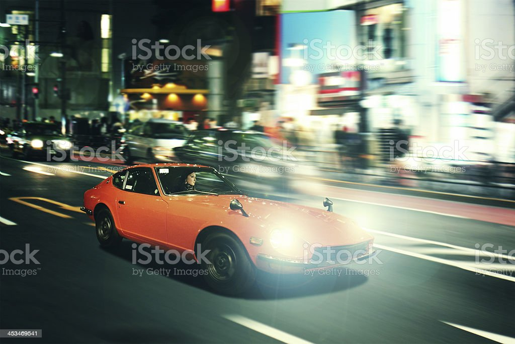 Tokyo nightrace in an oldtimer sportscar stock photo