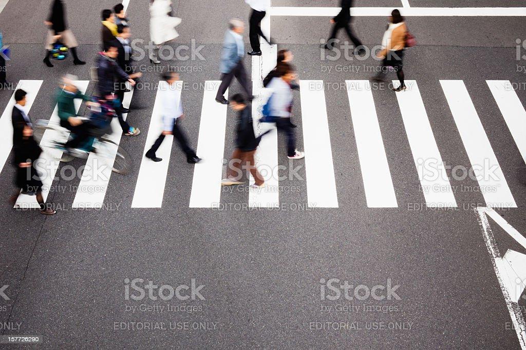 Tokyo Pedestrians at Crosswalk Japan royalty-free stock photo