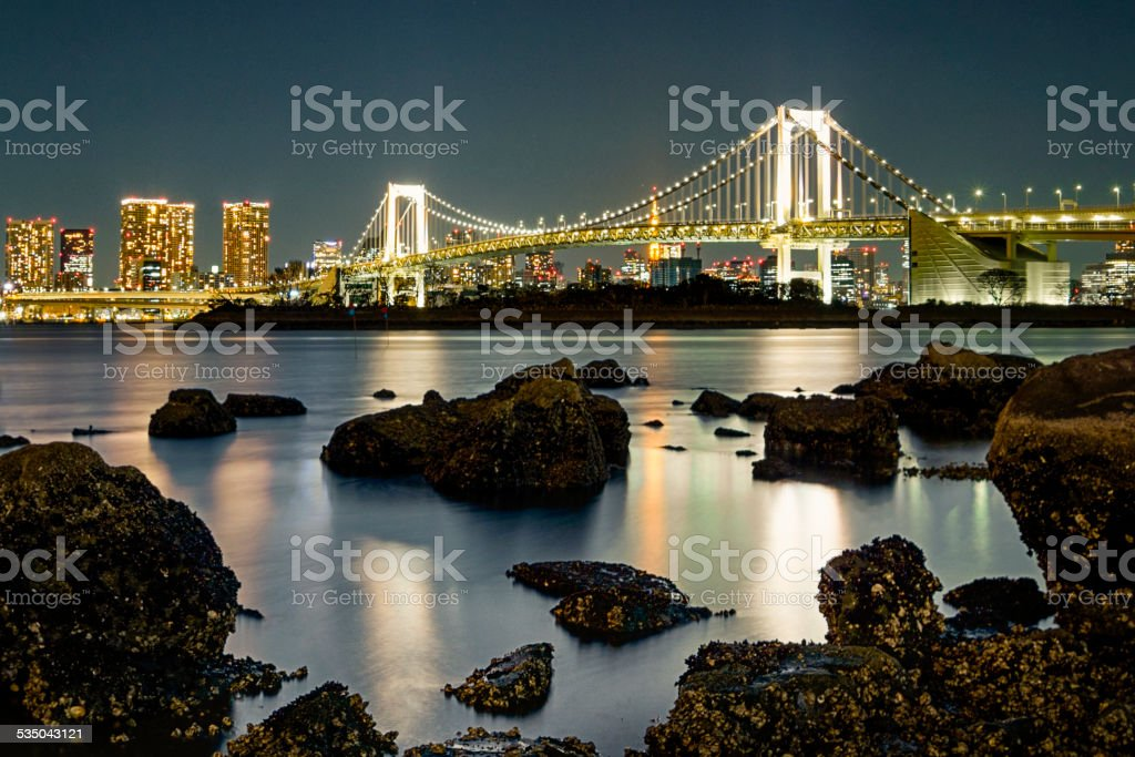 Tokyo Rainbow Bridge at Night stock photo
