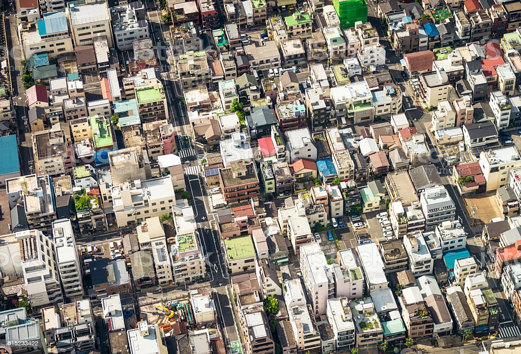 Tokyo residential blocks from above stock photo
