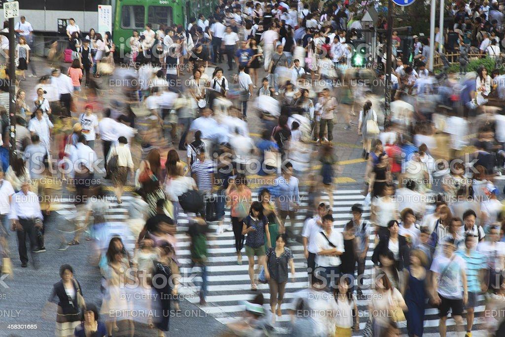 Tokyo Shibuya Crossing - long exposure royalty-free stock photo
