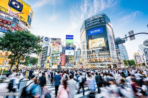 Japan, Shibuya Ward, Shibuya Crossing, Crowd, Spectator