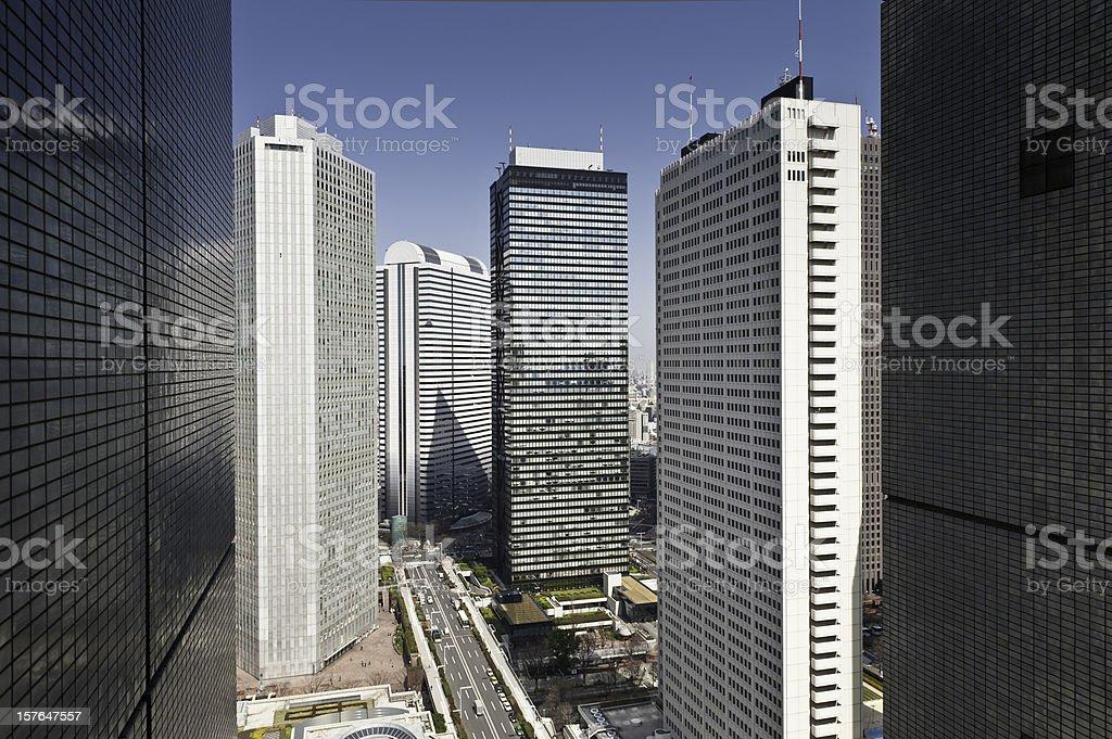 Tokyo Shinjuku skyscrapers high rises modern downtown business...