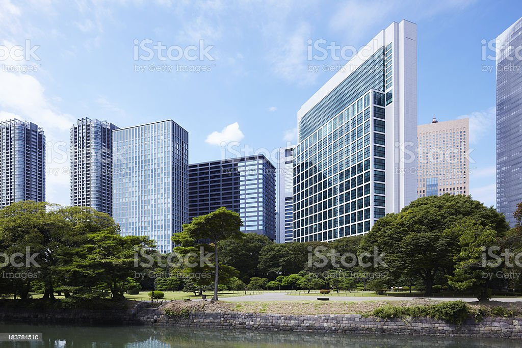 Tokyo Shiodome skyscrapers and Japanese gardens stock photo