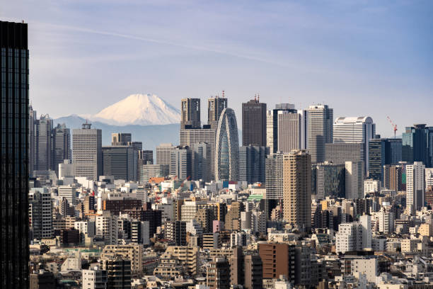 Tokio Skyline und Mountain fuji in Japan. – Foto