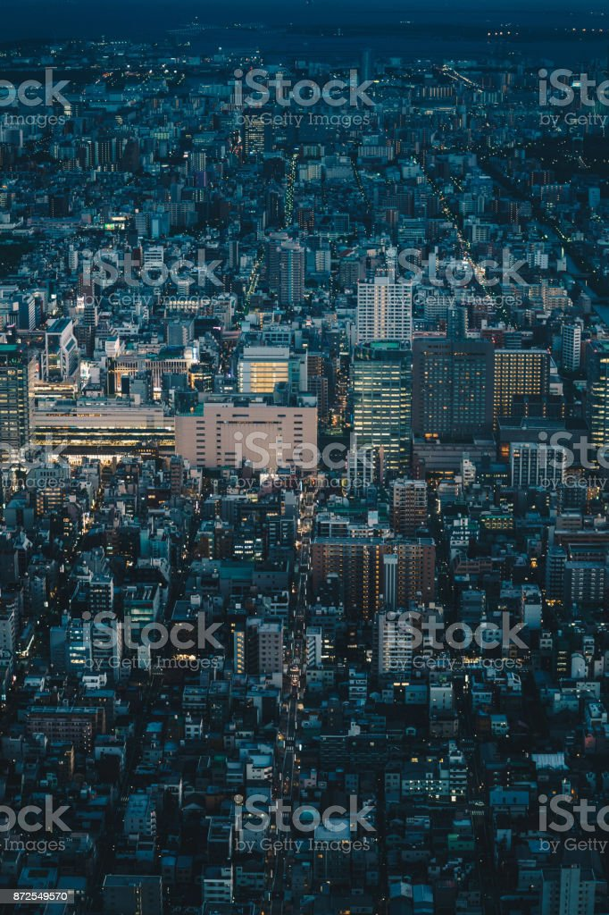 Tokyo skyline as seen from above aerial photography of Tokyo city, Japan stock photo