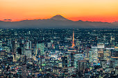 istock Tokyo skyline at dusk with Mt.Fuji background 1221584017