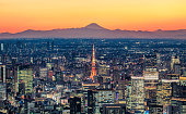 istock Tokyo skyline at dusk with Mt.Fuji background 1221584192