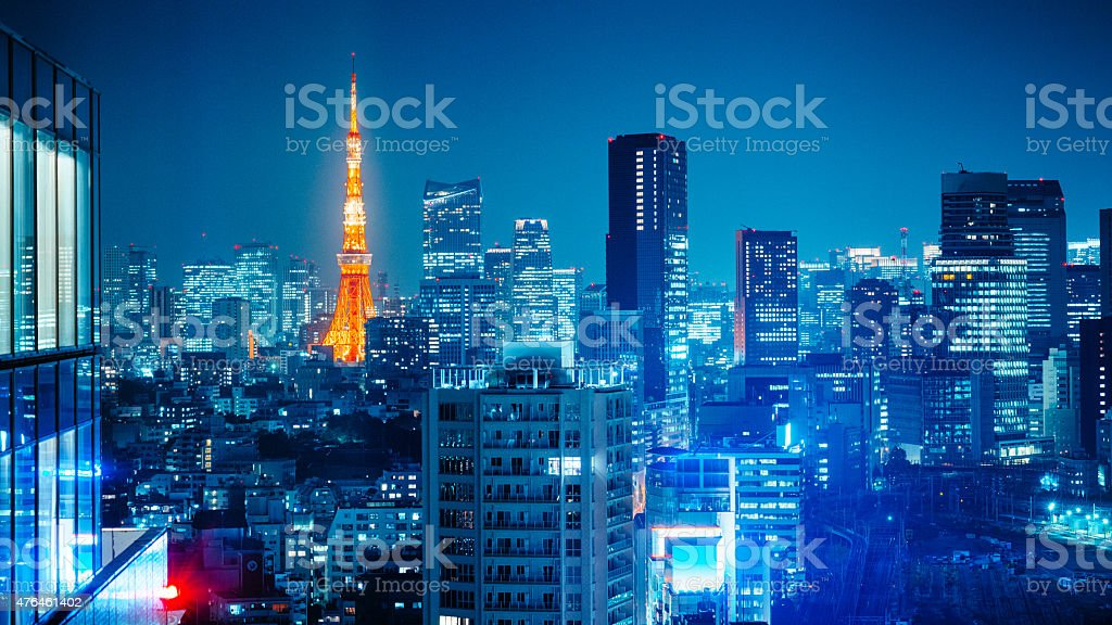 Tokyo Skyline at Night stock photo