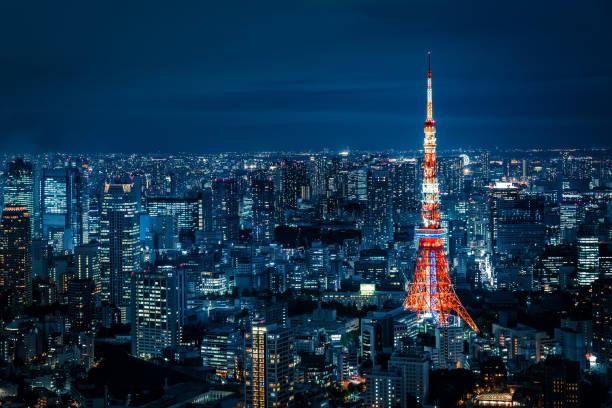 Tokyo Skyline at Night stock photo