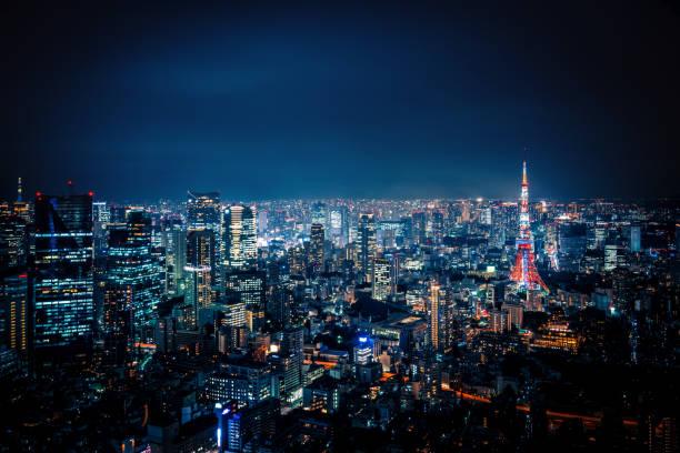 東京の夜の街並み ストックフォト