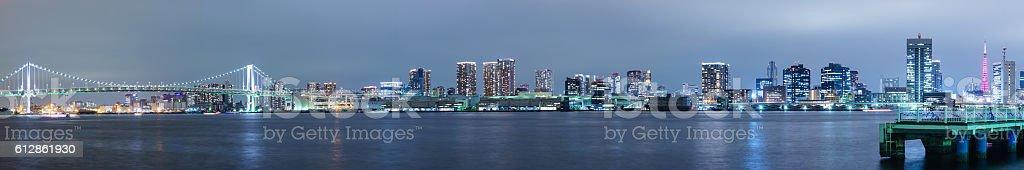 Tokyo Skyline from Harumi Wharf at Night ストックフォト
