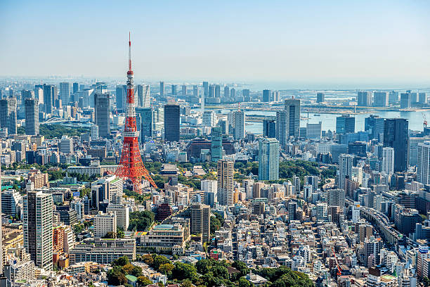 tokyo skyline - tokyo japan stock photos and pictures