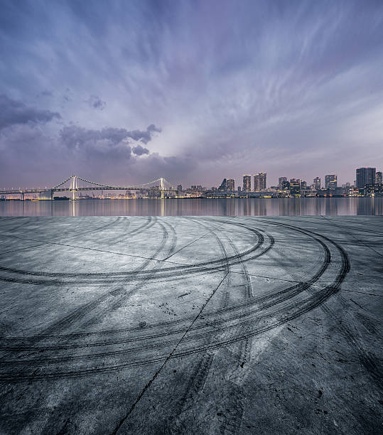 Tokyo Skyline Please see more similar pictures here tire track stock pictures, royalty-free photos & images