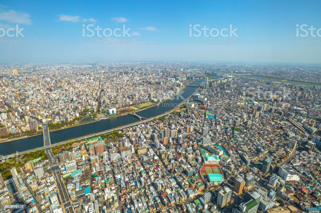 Tokyo skyline Sumida stock photo