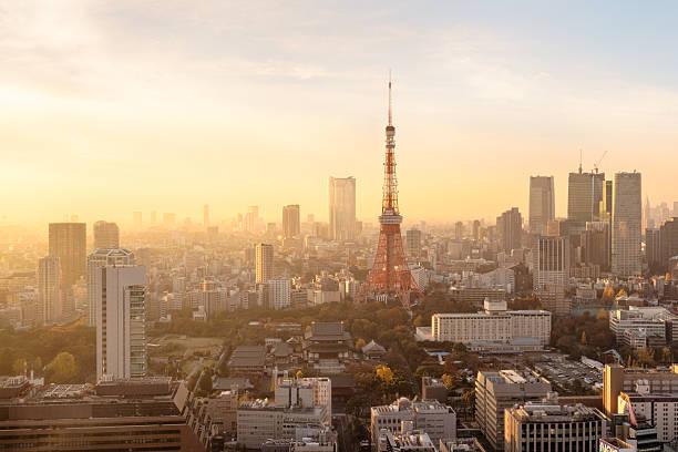 Tokyo Skyline Sunset stock photo
