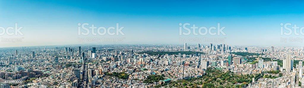 Tokyo Skyline toward Shibuya, Shinjuku (large panorama) stock photo