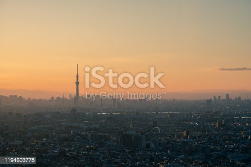 1131743616 istock photo Tokyo skyline with the view of Mount Fuji and Tokyo Skytree 1194603775