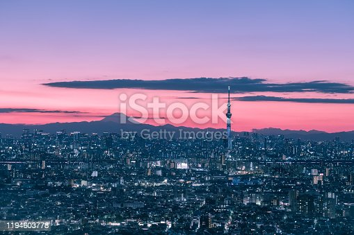 1131743616 istock photo Tokyo skyline with the view of Mount Fuji and Tokyo Skytree 1194603778