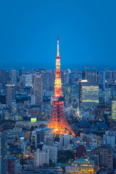 Tokyo skyline with Tokyo Tower at sunset. Japan stock photo