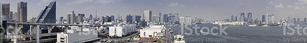 Tokyo skyscrapers highways landmarks harbor city panorama Minato-Ku Japan royalty-free stock photo