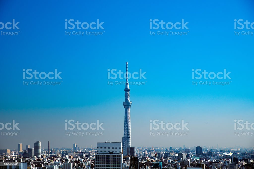 Tokyo skytree and skyscrapers stock photo