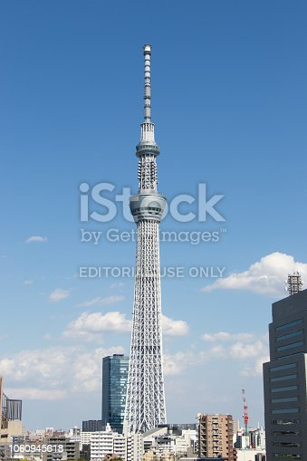 Tokyo, Japan, April 24,2017 Tokyo skytree, the highest tower in Japan with blue sky background