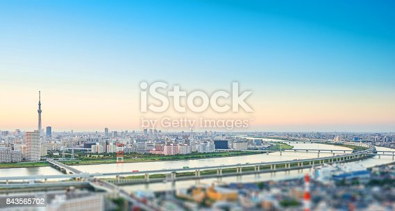 1184122904 istock photo tokyo skytree under dramatic sunset glow and beautiful cloudy sky in Tokyo, Japan. Miniature Tilt-shift effect 843565702