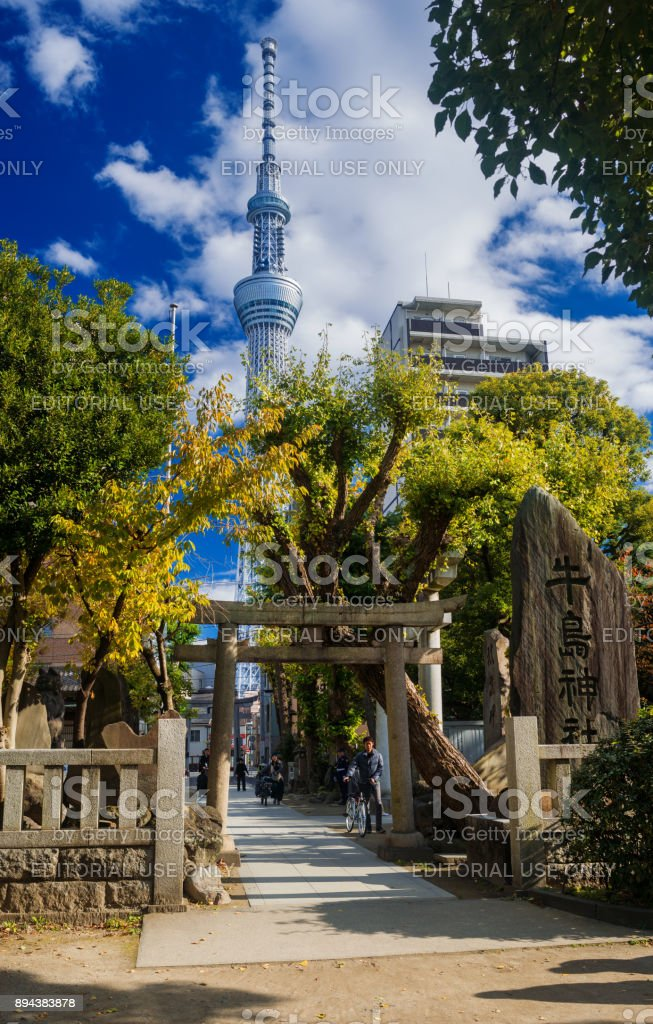 Tokyo Skytree with temple stock photo