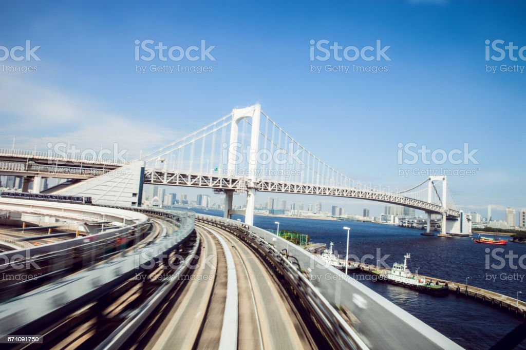 Tokyo speed train transportation in business district royalty-free stock photo