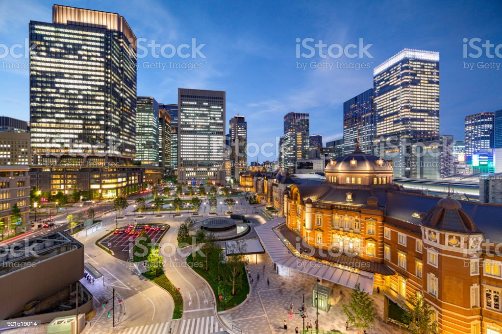 Tokyo station at night, Japan stock photo