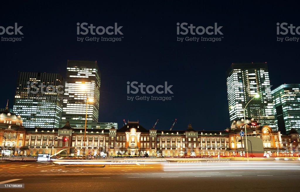 Tokyo station at night royalty-free stock photo