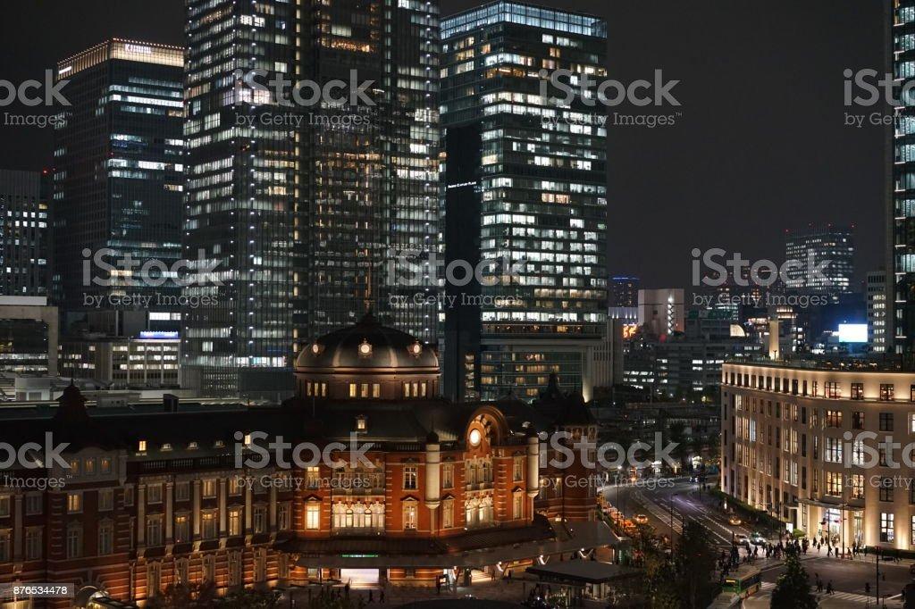Tokyo station at night stock photo