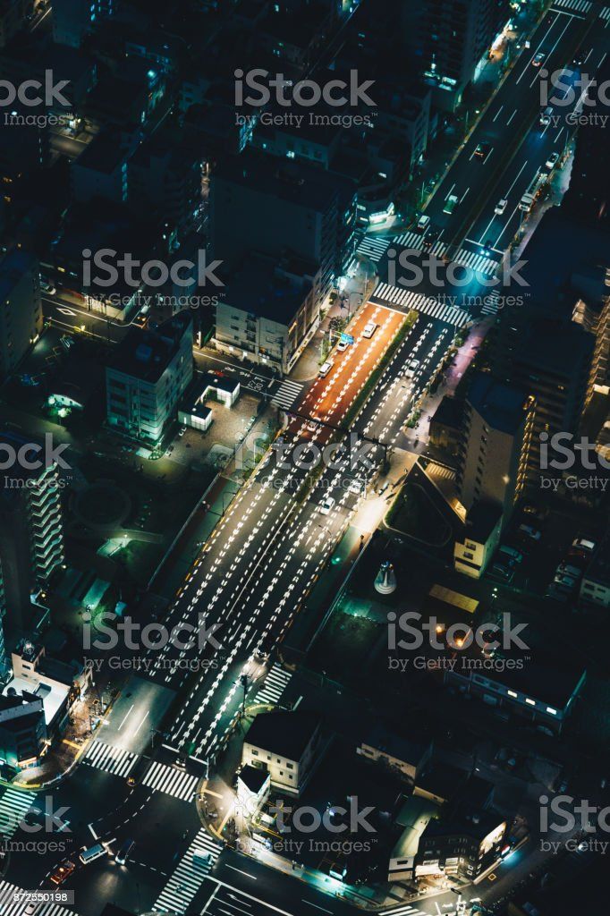 Tokyo streets at night aerial photography stock photo