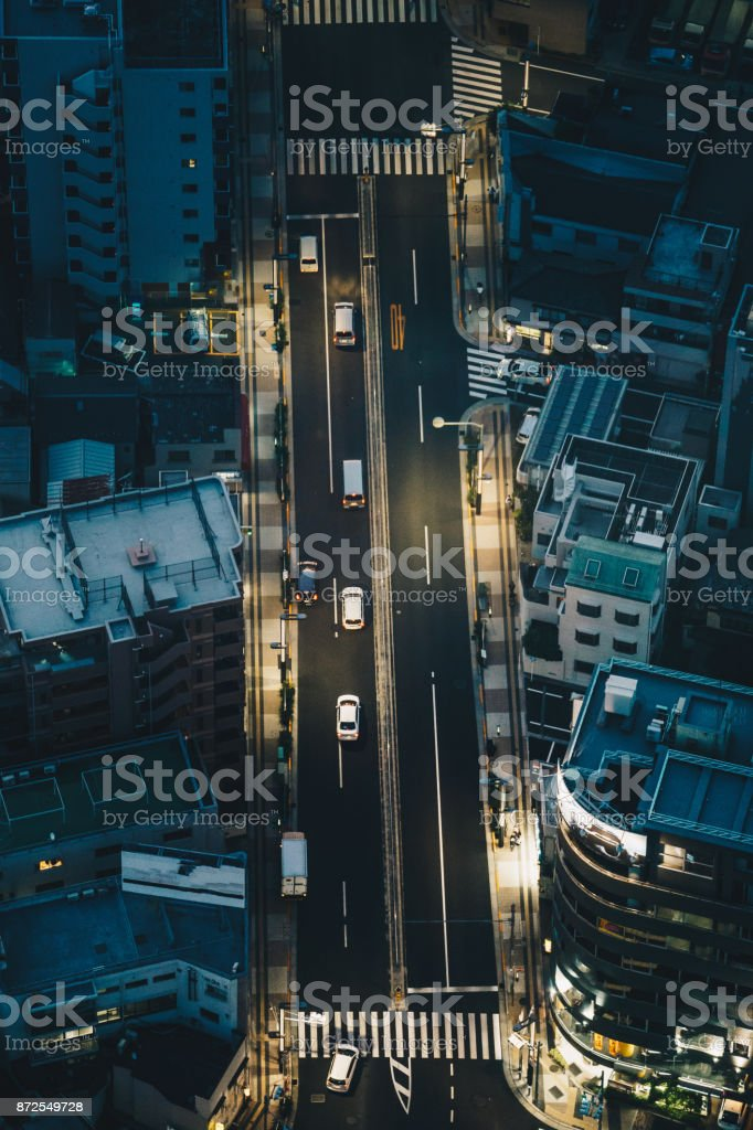 Tokyo streets at night as seen from above aerial photography stock photo