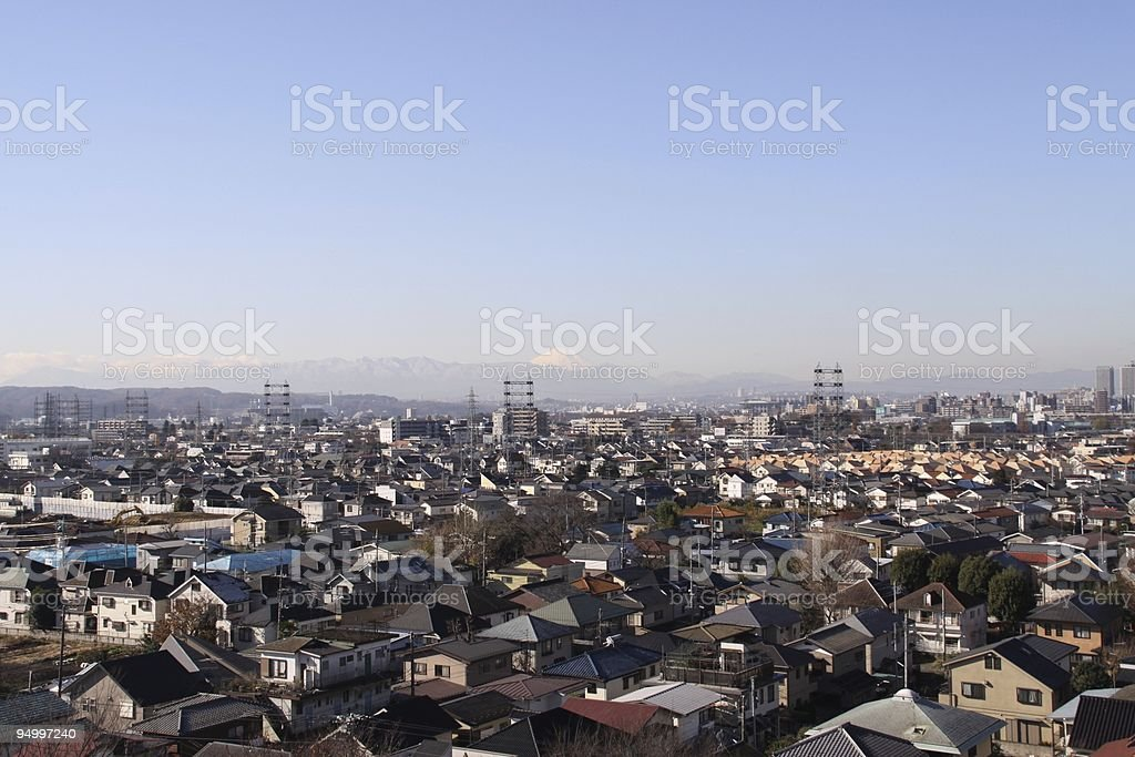 Tokyo Suburbia with Mount Fuji in bacground stock photo