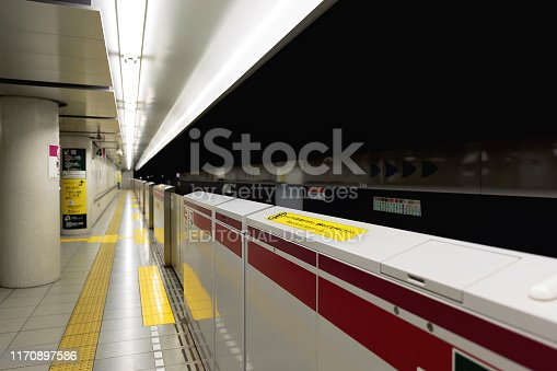 1166703050 istock photo Tokyo subway tunnel and station 1170897586