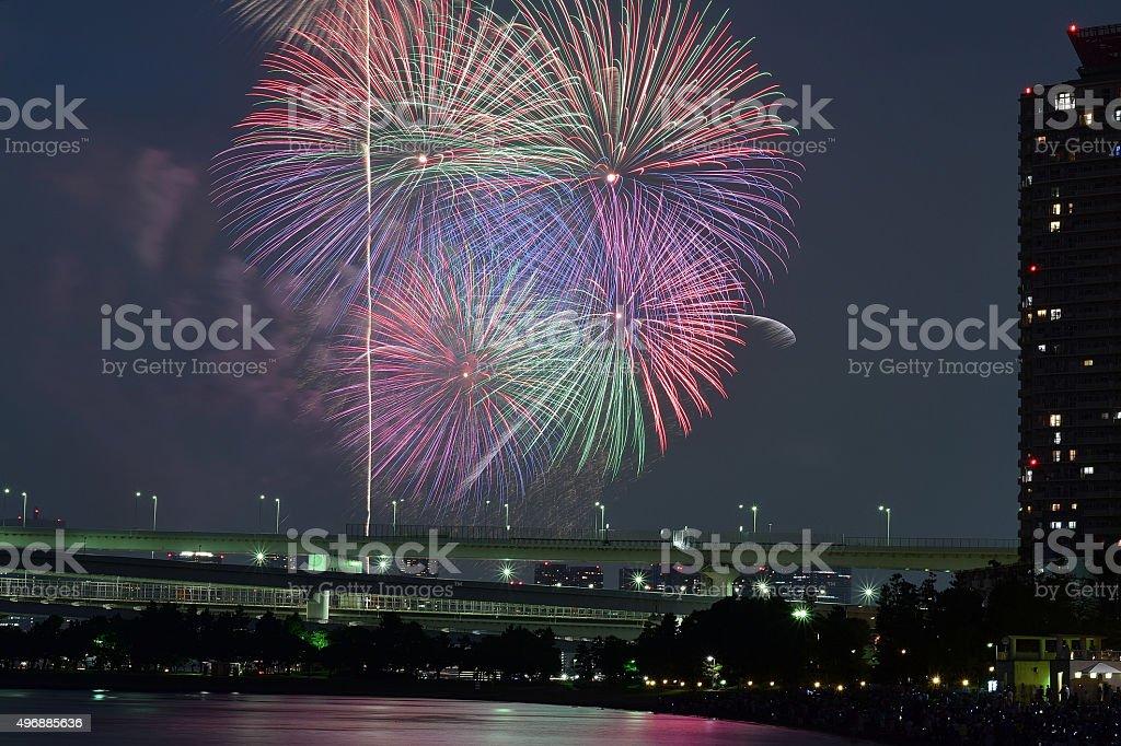 Tokyo Summer Fireworks Festival stock photo