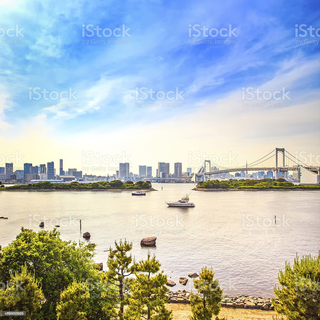 Tokyo sunset Skyline with Rainbow Bridge and bay  Odaiba. Japan stock photo