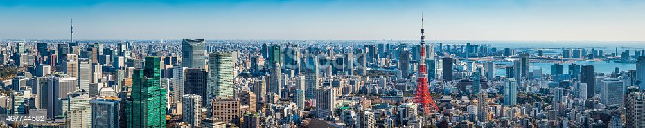 istock Tokyo super panorama crowded cityscape Skytree Tokyo Tower aerial view Japan 467744582