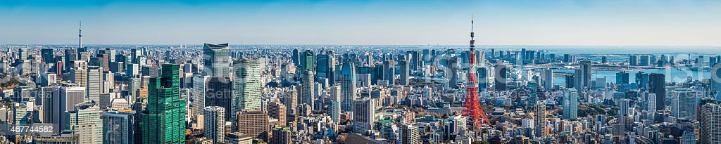 Tokyo super panorama crowded cityscape Skytree Tokyo Tower aerial view Japan stock photo