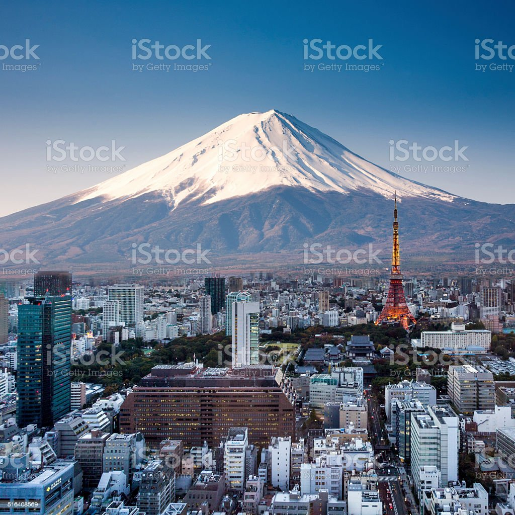 Tokyo top view sunset with Mount Fuji surreal photography. Japan stock photo