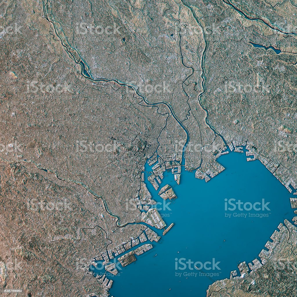 Tokyo Topographic Map Natural Color Top View stock photo