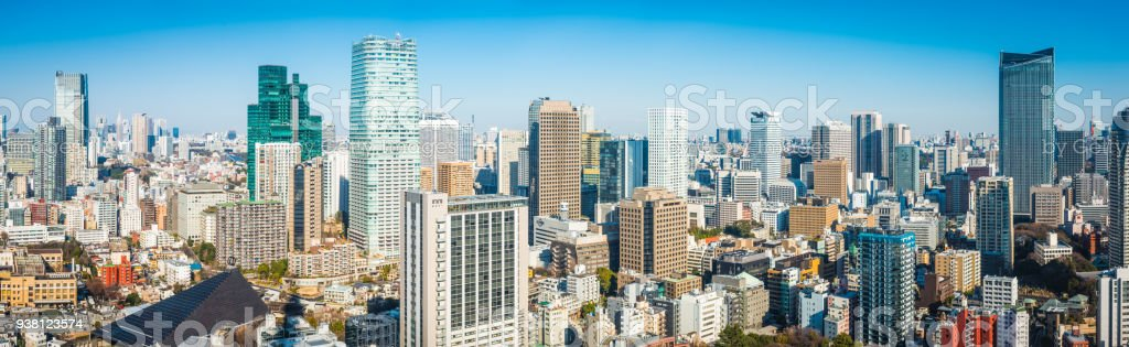 Tokyo Tower aerial panorama crowded skyscrapers high rise cityscape Japan stock photo